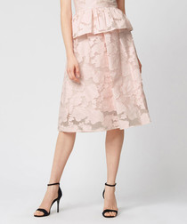 Pink cotton blend burnout prom skirt