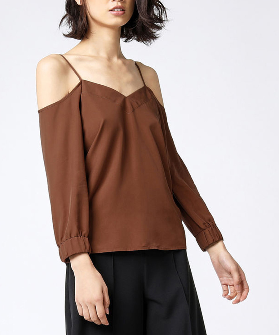 d2e13db8342 Discount Brown cold shoulder cami blouse | SECRETSALES