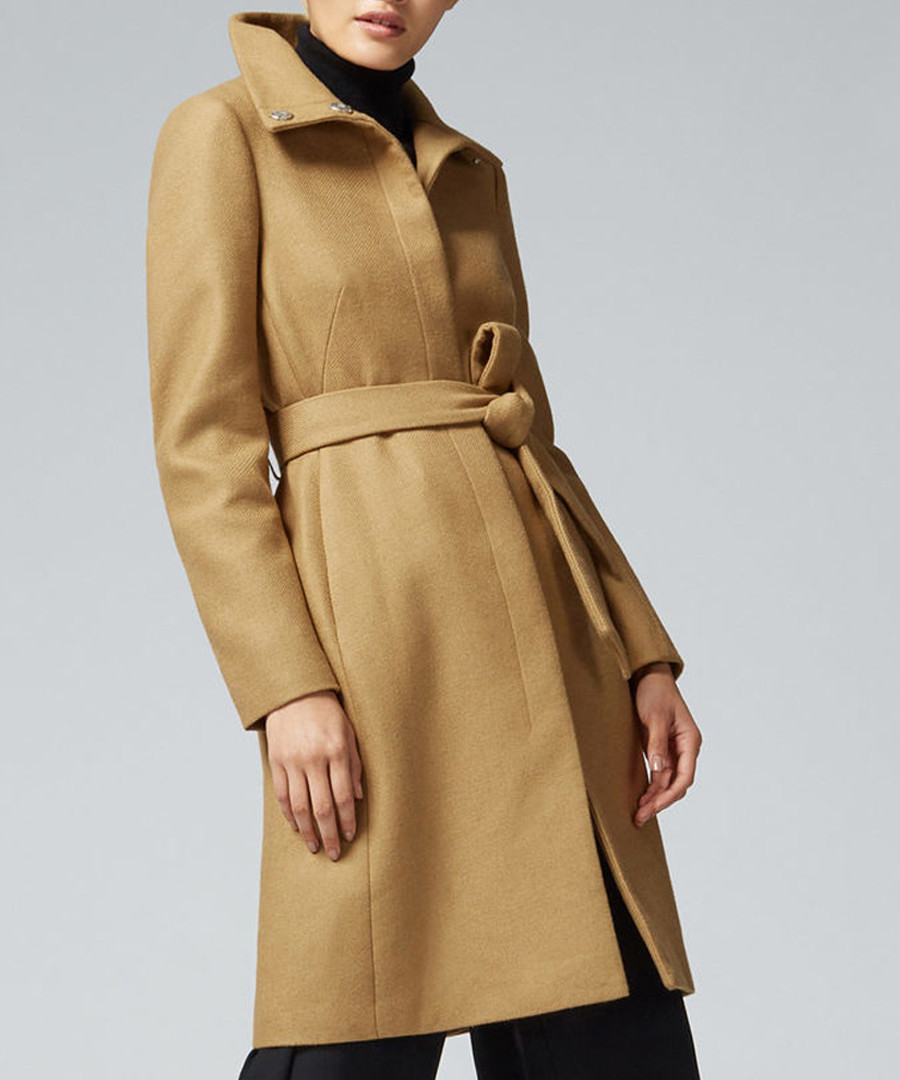 luxury buying cheap full range of specifications Discount Camel wool blend belted funnel coat | SECRETSALES
