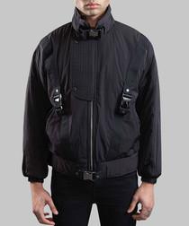 Black buckled parachute jacket