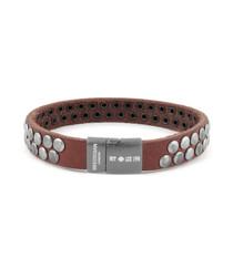 Brown leather disc bracelet