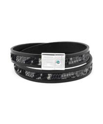 Black leather & silver printed bracelet