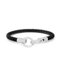 Black & silver leather braided bracelet