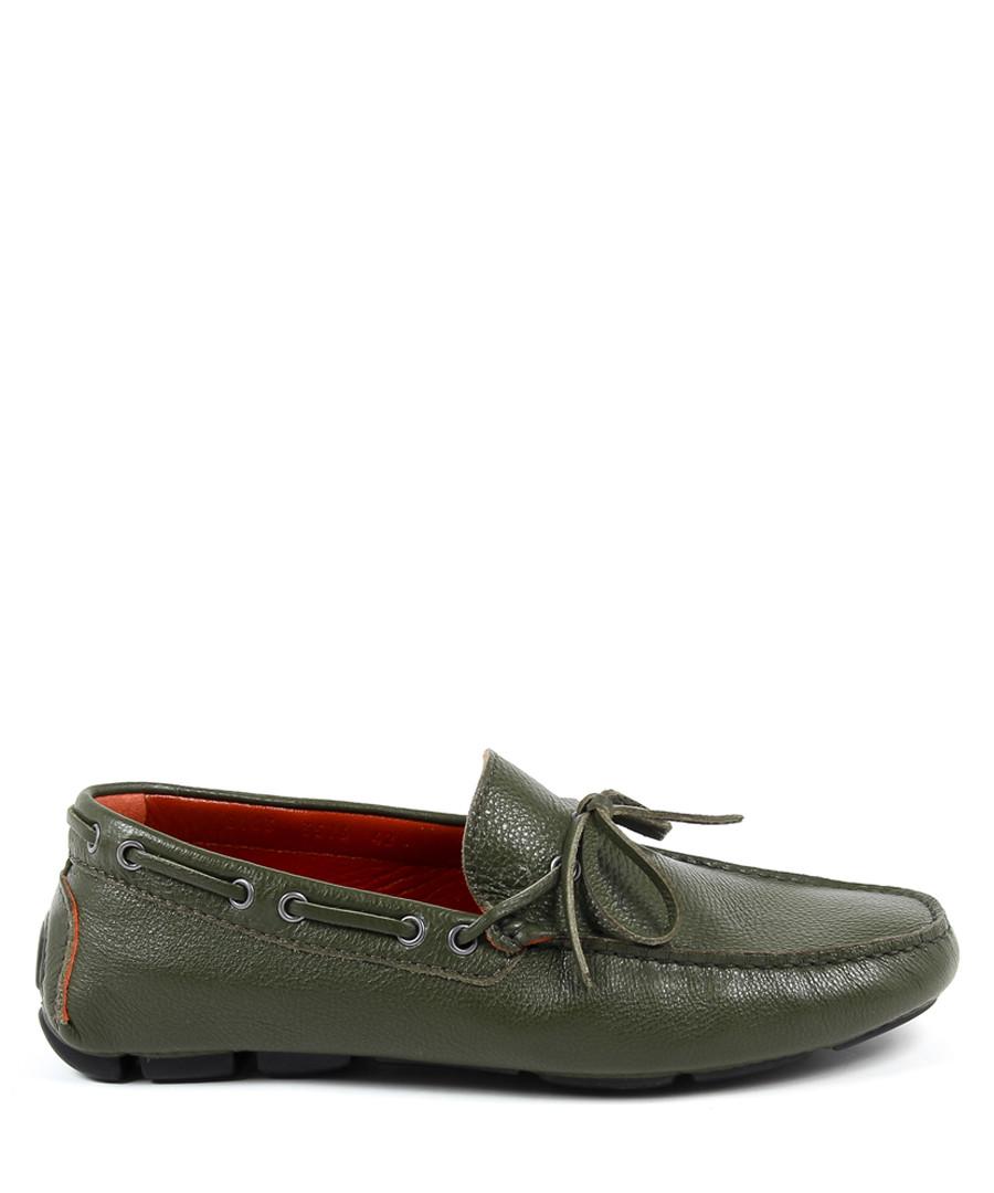 Green leather lace detail moccasins Sale - versace 1969 abbigliamento sportivo srl milano italia