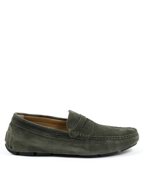 Men's green suede loafers
