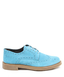 Blue suede perforated brogues