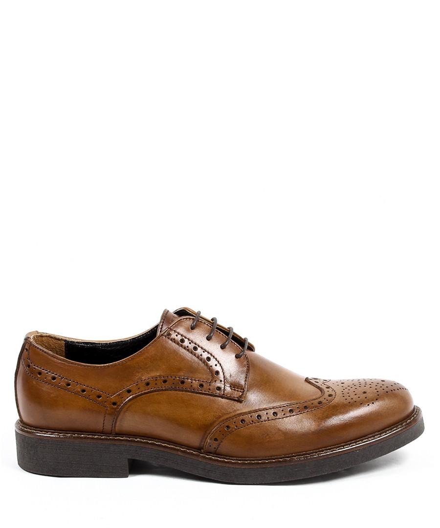 Brown leather perforated brogues Sale - v italia by versace 1969 abbigliamento sportivo srl milano italia