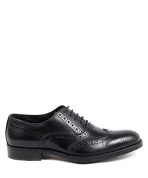 Men's Black leather perforated brogues