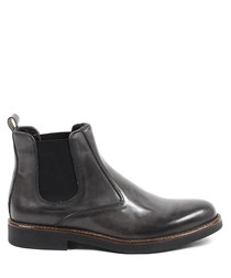 Dark grey leather Chelsea boots