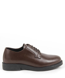 Men's Dark tan leather lace-up shoes