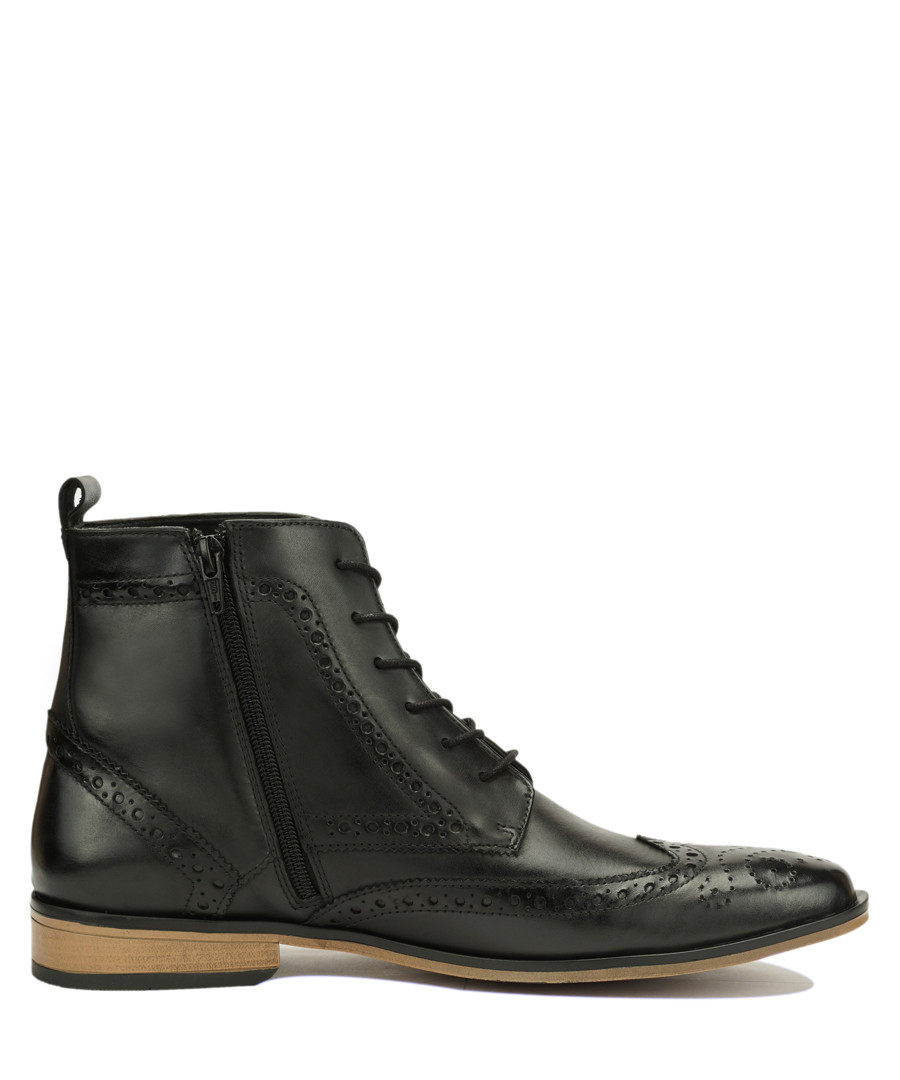 Black leather perforated ankle boots Sale - Amati Regazzi