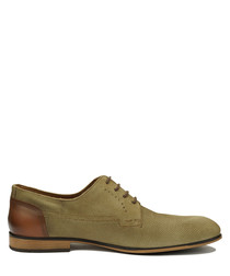 Olive & brown leather Derby shoes