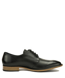Black leather contrast heel Derby shoes