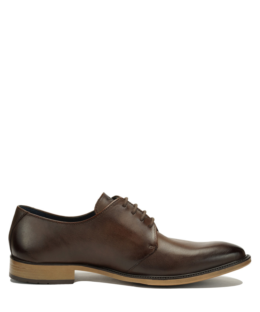 Brown leather contrast heel Derby  shoes Sale - Amati Regazzi