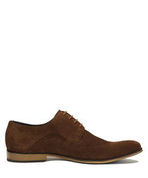 Brown suede lace-up Derby shoes
