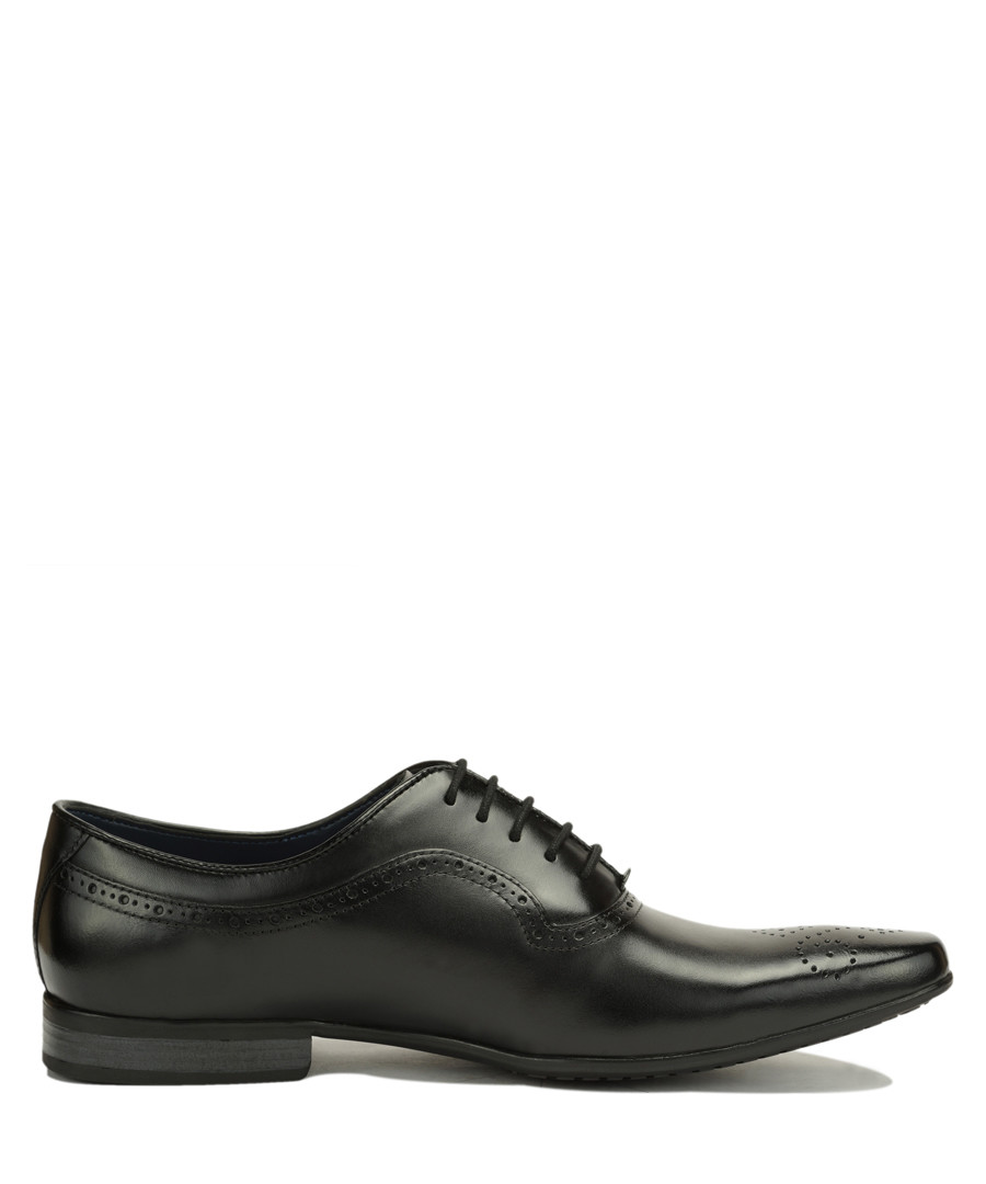 Black leather perforated Oxford shoes Sale - Amati Regazzi