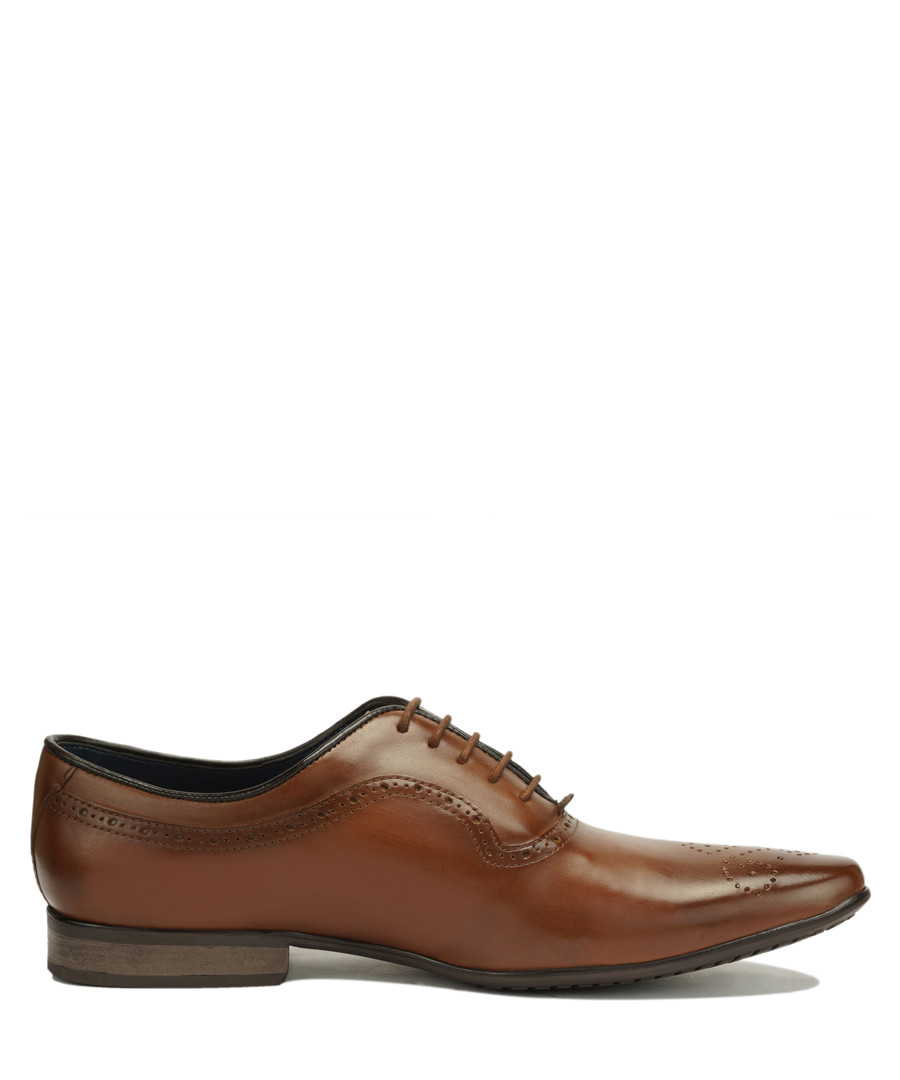 Tan leather perforated Oxford shoes Sale - Amati Regazzi