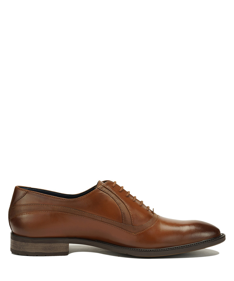 Tan leather stitched Oxford shoes Sale - Amati Regazzi