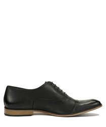 Black leather contrast heel Oxford shoes