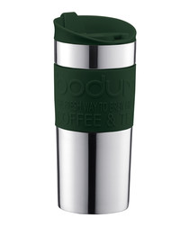 Dark green & steel travel mug 0.35L