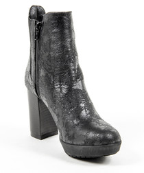 Black leather distressed platform boots