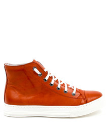 Red leather hi-top lace-up sneakers
