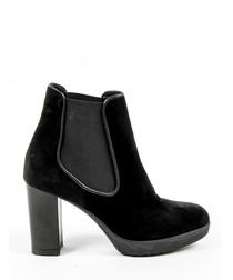 Women's Black leather platform boots
