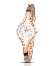 Rose gold-tone round dial crystal watch