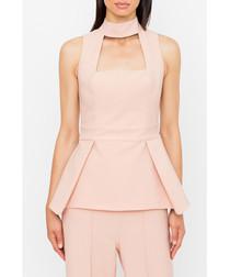 Blush sleeveless peplum blouse