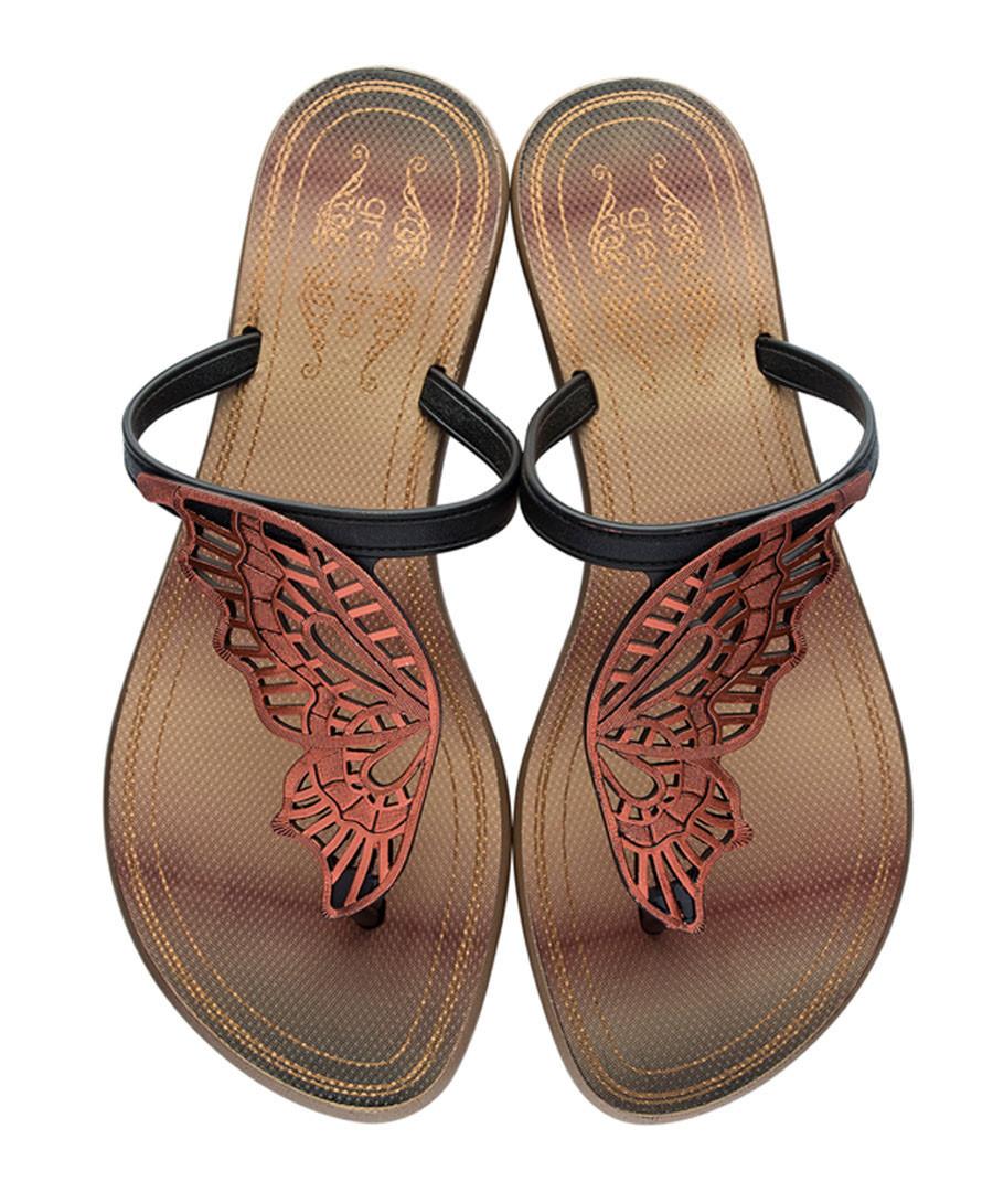 c5a4ac320 Butterfly black   bronze flip flops Sale - Grendha