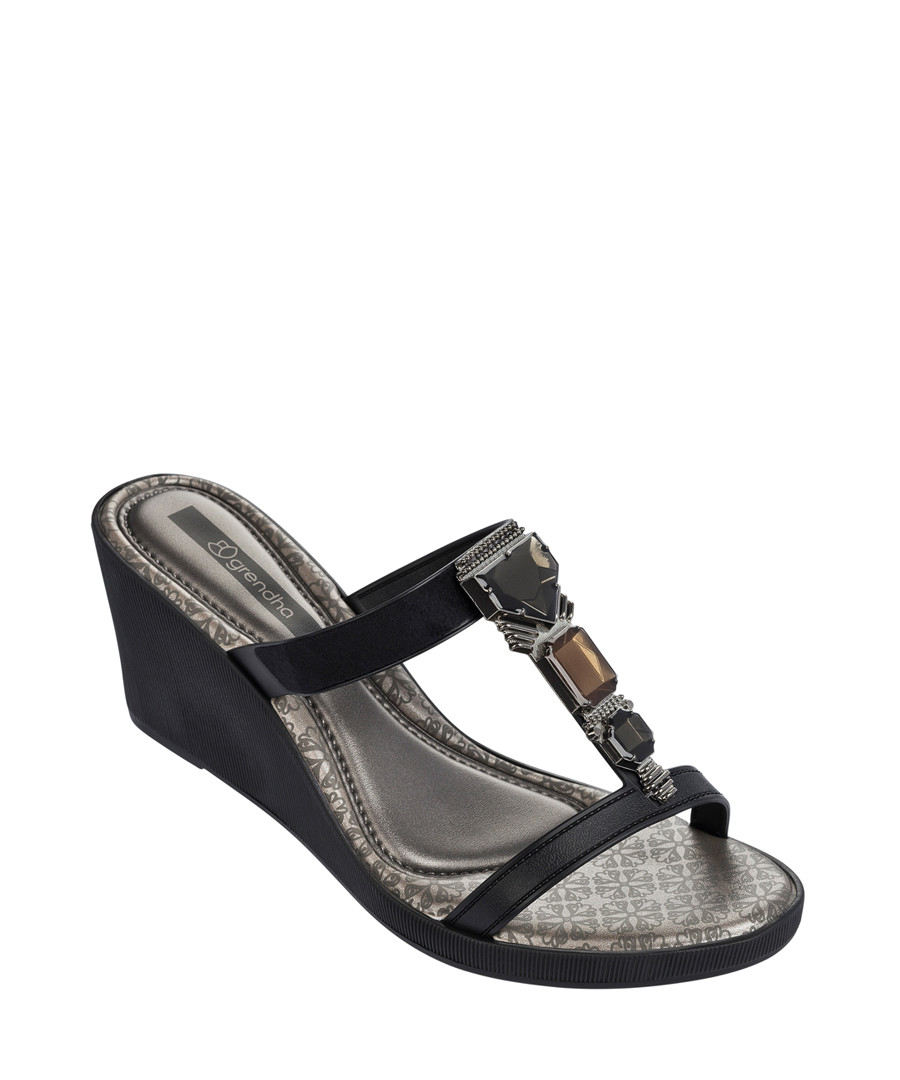 48774b35a Jewel III black embellished wedges Sale - Grendha