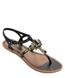 Lustre black embellished sandals