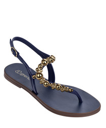 Cluster navy & gold curve sandals