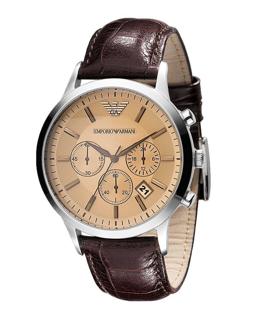 Brown leather & champagne dial watch Sale - Emporio Armani