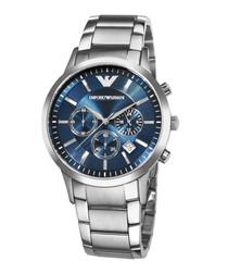 Silver-tone & blue dial steel watch