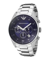 Silver-tone & blue steel bracelet watch