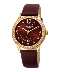 Brown leather crystal bezel watch