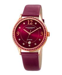 Purple leather crystal bezel watch