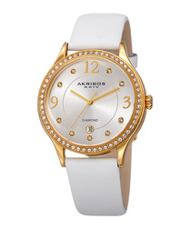 White leather crystal bezel watch
