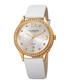 White leather crystal bezel watch Sale - akribos Sale