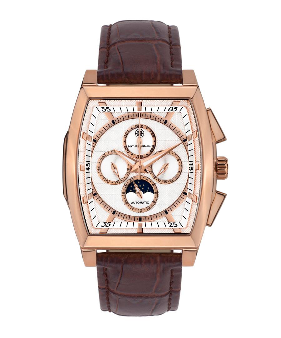 Carrée brown leather moc-croc watch Sale - mathis montabon