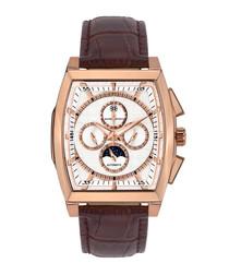 Carrée brown leather moc-croc watch