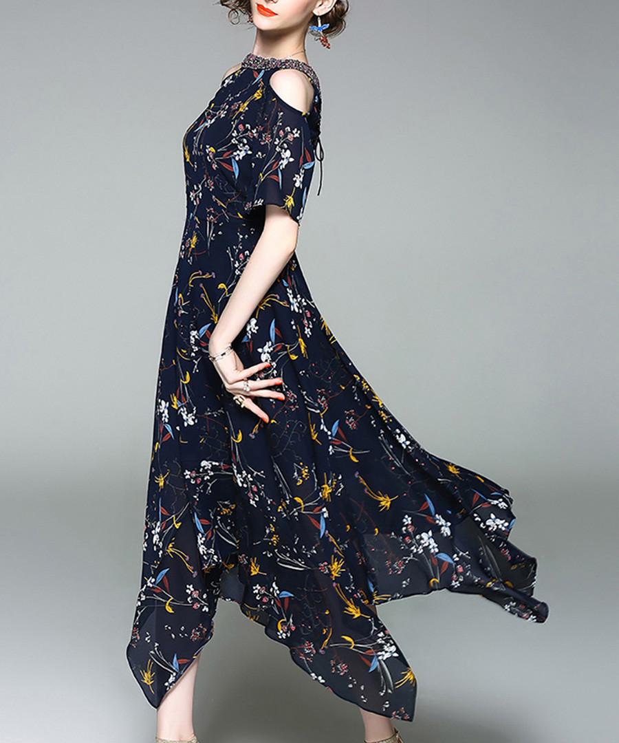 Navy flower print cold shoulder dress Sale - alaroo