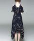 Navy flower print cold shoulder dress Sale - alaroo Sale