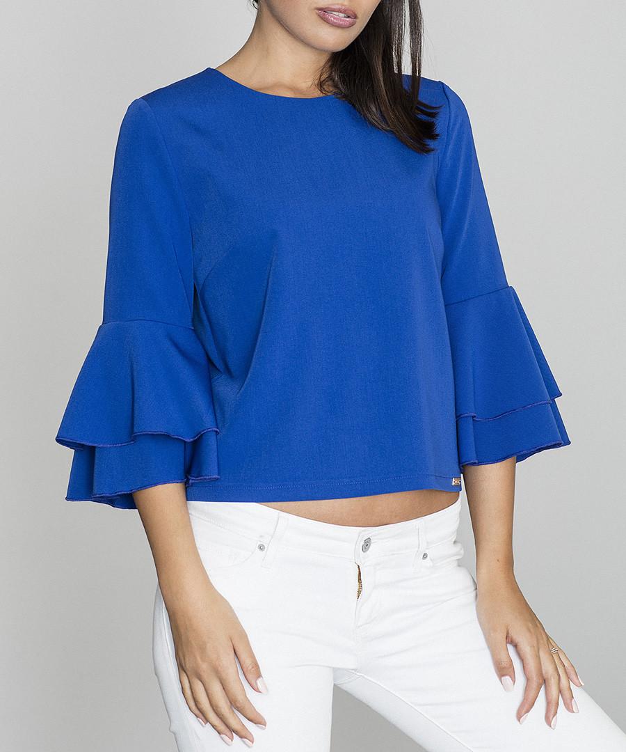 Blue ruffle sleeve blouse Sale - figl