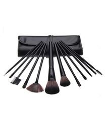 12pc Professional black make-up brushes