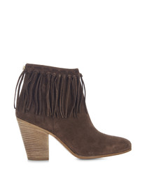Pioneer grey suede fringe detail boots