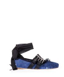 Blue denim ribbon tie ballet flats