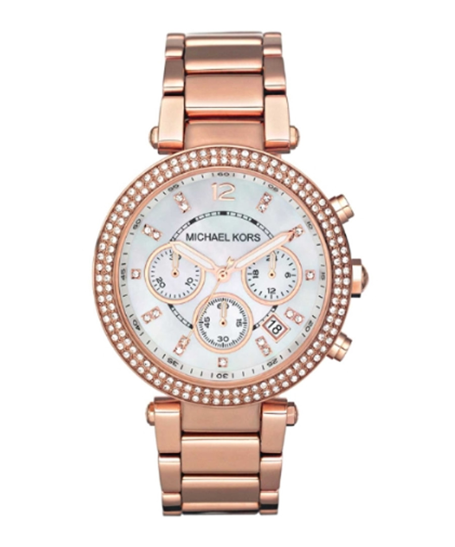 Parker rose gold-plated crystal watch Sale - Michael Kors