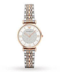 Gold-tone & white steel watch